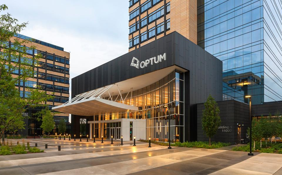 UnitedHealth Group's Optum headquarters in Eden Prairie, Minnesota. Optum is the health care services business of UnitedHealth, the nation's largest health insurer