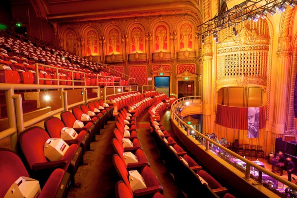 Empty theater balcony seats
