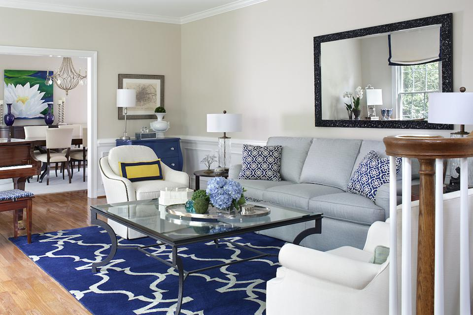 Blue Transitional Living Room into Dining Room.