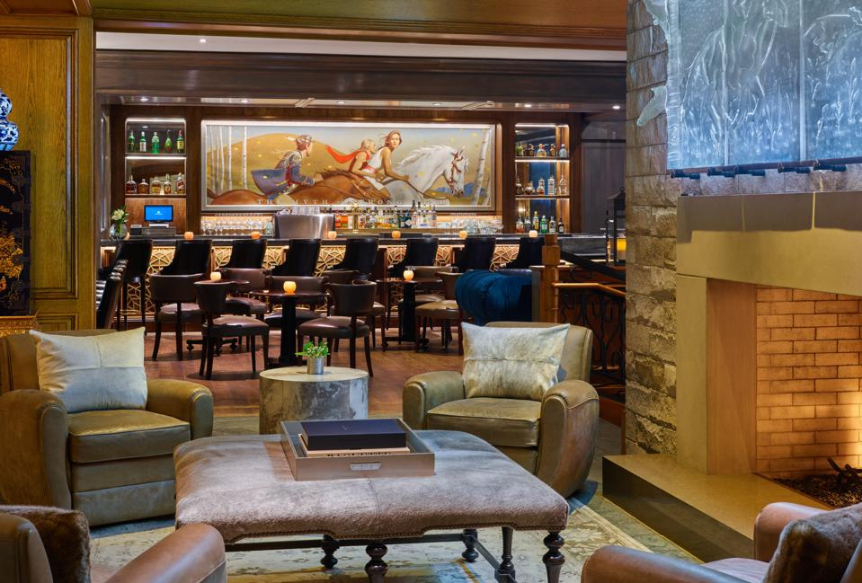 The Mountain Social lounge at the St. Regis Aspen Resort.