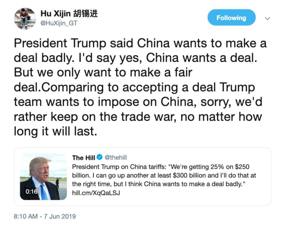 China's Hu Xijin tweet
