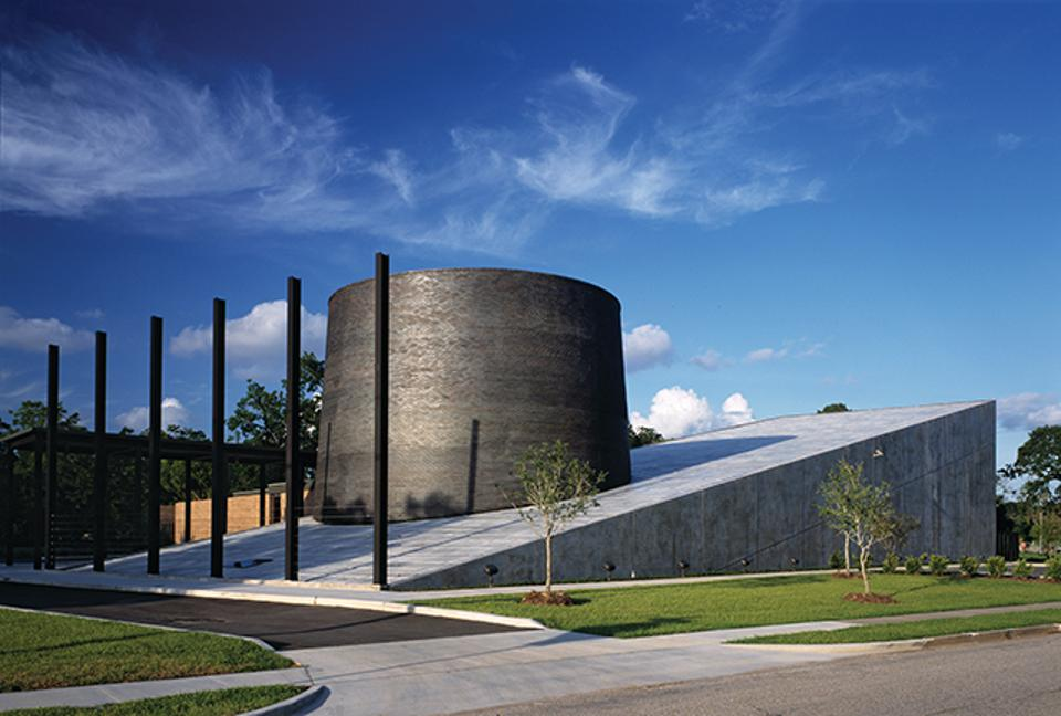 Holocaust Museum Houston's original facility has been doubled and its iconic slope roof and cylinder both extended.
