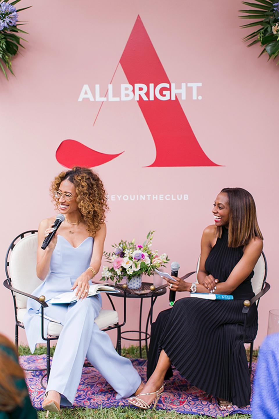 Elaine Welteroth speaking at the AllBright Backyard Series