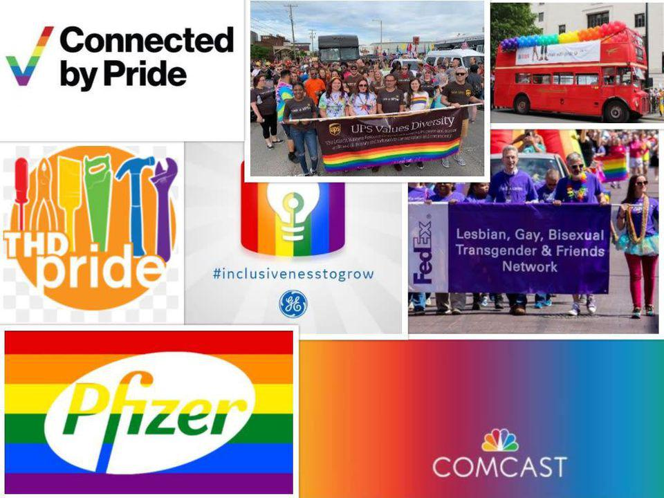 Pride logos celebrating the LGBTQ community — by firms which gave to anti-LGBTQ lawmakers.