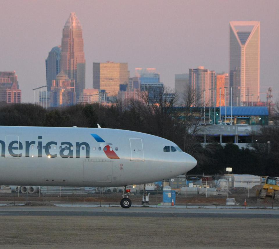 An American Airlines aircraft taxis at Charlotte Douglas International Airport.