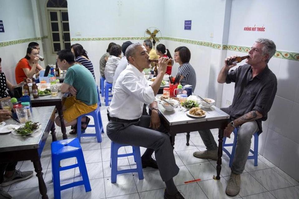 President Obama and Anthony Bourdain in Hanoi.