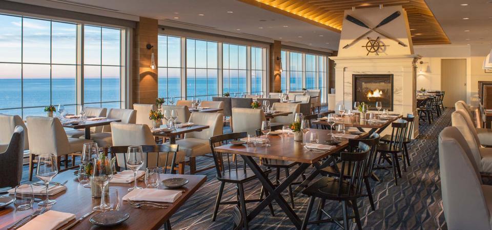 Inside of an empty restaurant on the ocean