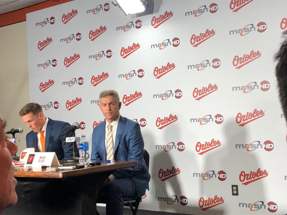 Orioles general manager Mike Elias and No. 1 pick Adley Rutschman meet with the media.