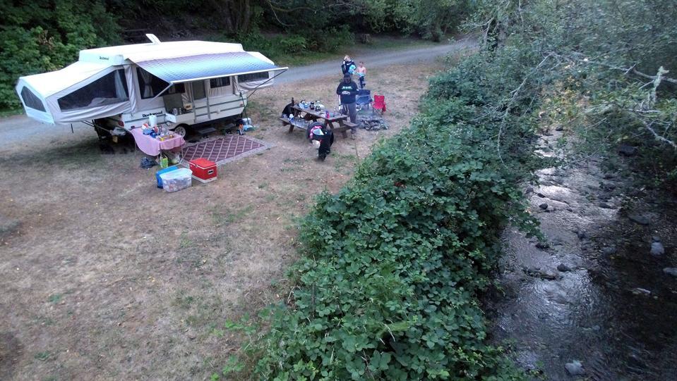 A drone's view of our campsite along a small creek near Bandon, Oregon.