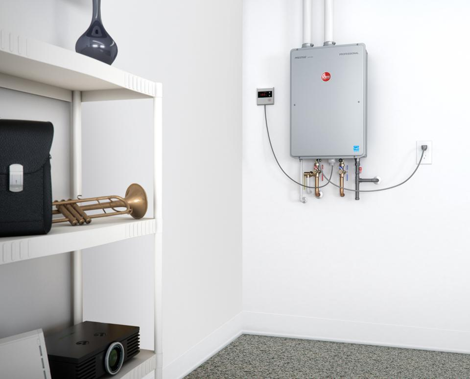 A Gas tankless water heater from Rheem.