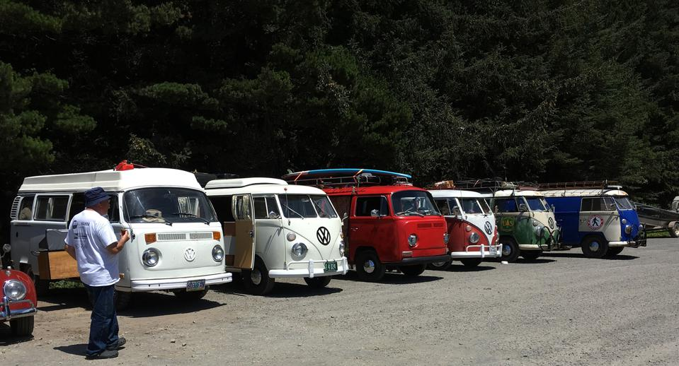 Vintage VWs take a break after plying the hills and byways of Highway 101.