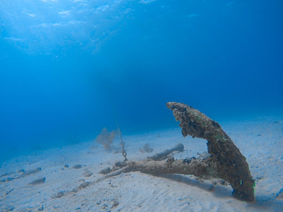 An old anchor in Carlisle Bay, Barbados