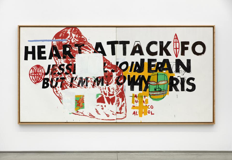 JEAN-MICHEL BASQUIAT AND ANDY WARHOL, Heart Attack, 1984, acrylic on canvas diptych: 76.4 x 155.9 inches (overall).