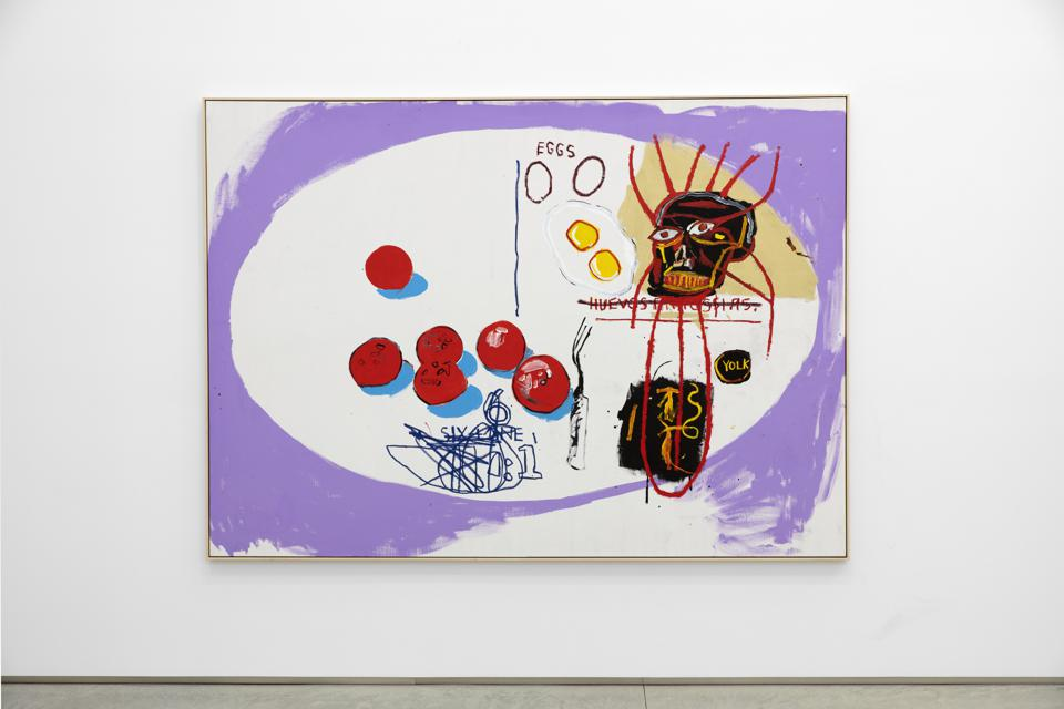 JEAN-MICHEL BASQUIAT AND ANDY WARHOL, Eggs, 1985 acrylic on canvas, 80 x 111.4 inches.