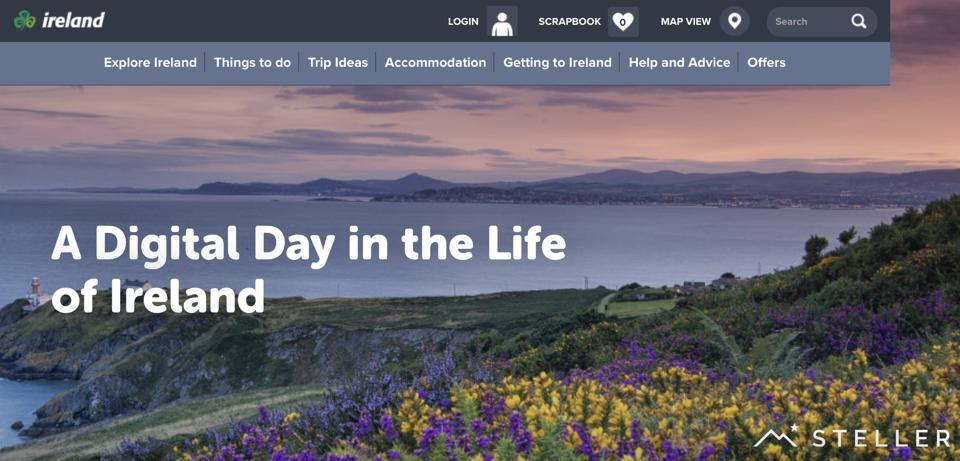 Website image of  A Digital Day In the Life of Ireland, created with Steller  app