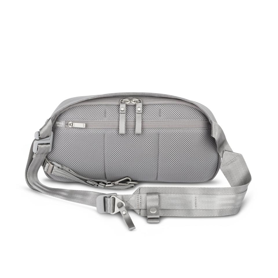 Gray bag with strap and zippers