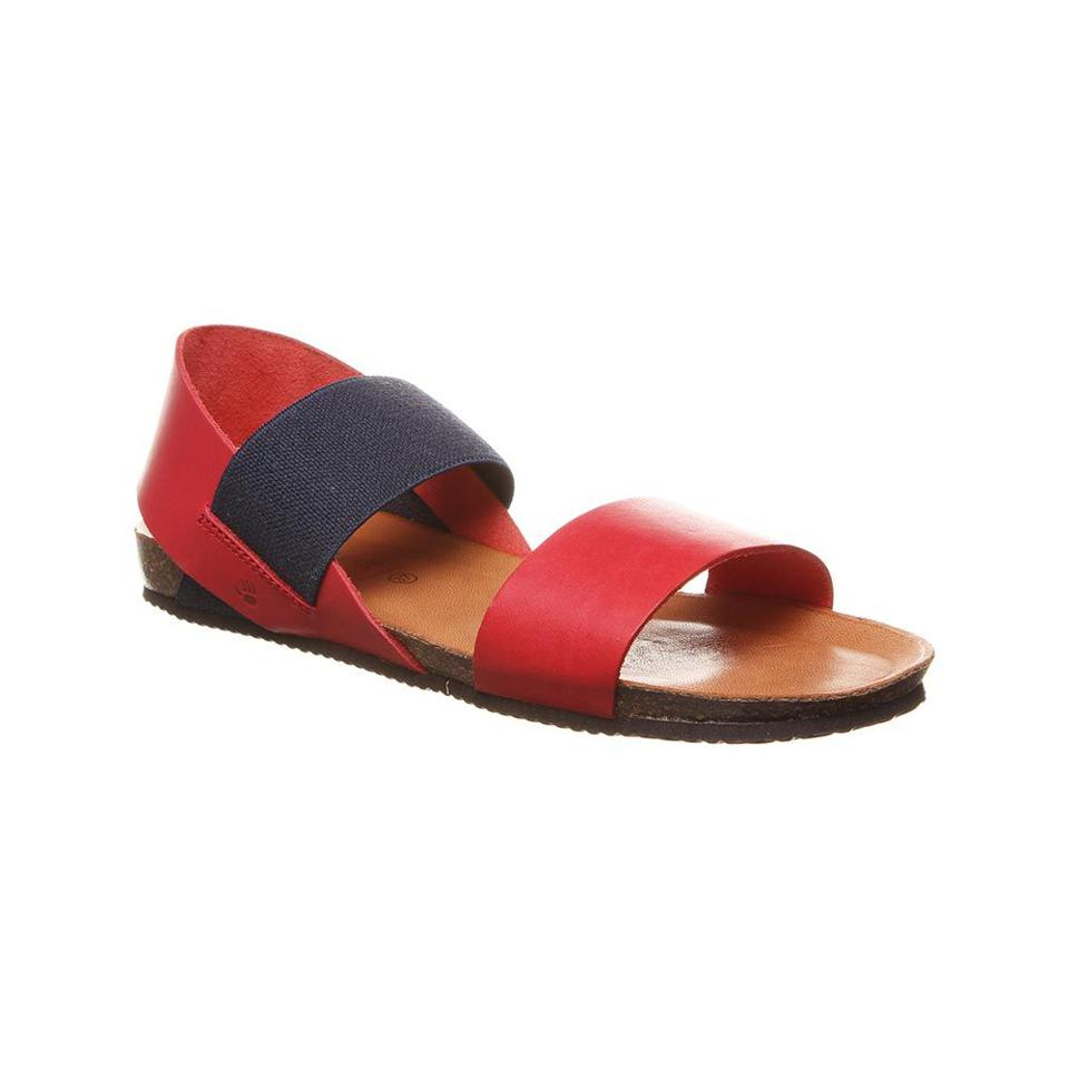 Red and navy woman's sandal
