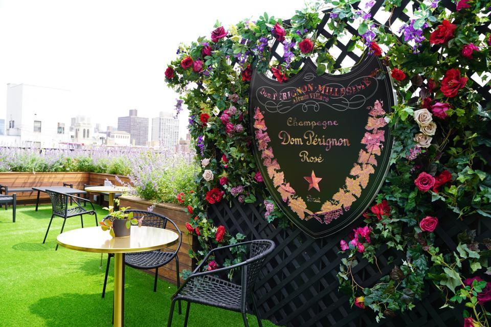 The Dom Pérignon rosé rooftop bar at The Surrey, New York.