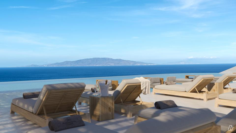 A rendering of the infinity pool at the newly opened Andronis Arcadia in Santorni, Greece.