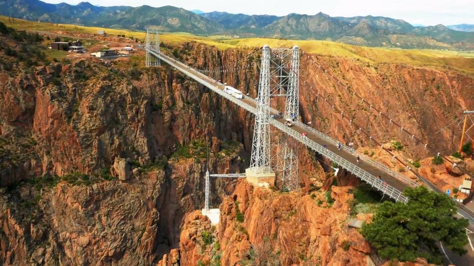 Aerial view of the Royal Gorge Suspension Bridge.