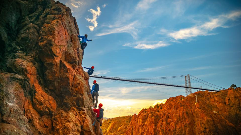 Via Ferrata route with the Royal Gorge suspension bridge in the background.