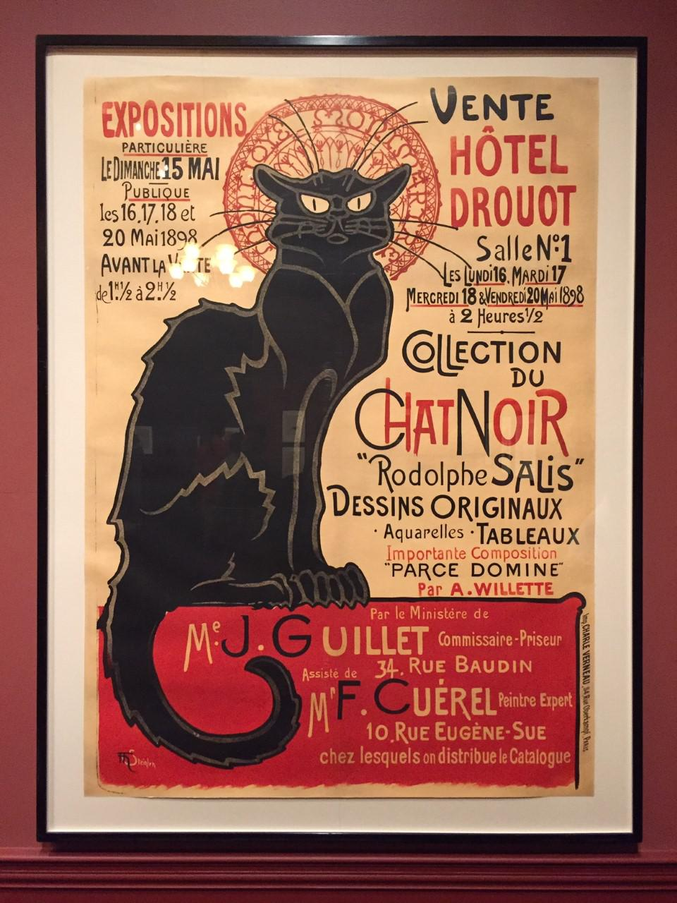 'Chat Noir,' (Black Cat) poster among the items on display at Museum of Fine Arts, Boston's 'Toulouse-Lautrec and the Stars of Paris' exhibit.