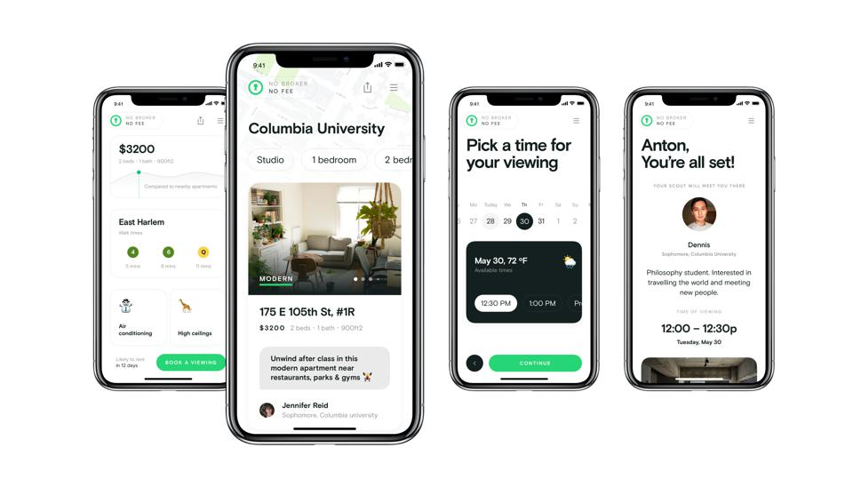 Four smartphones with a real estate app.