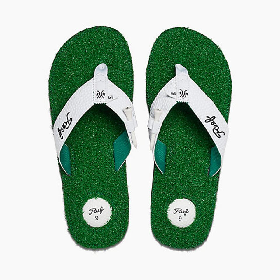 Green sandals with white straps