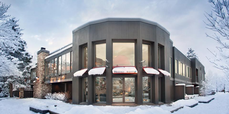 The exterior of Hotel Aspen is modern in design.