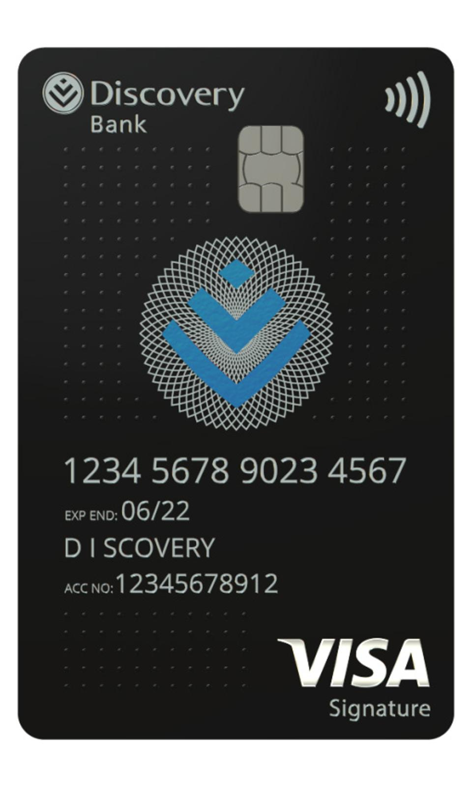 Discovery Bank's vertical credit card.