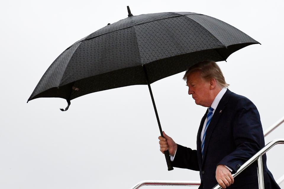 Donald Trump exits Air Force One in Osaka. Trump is in Osaka to attend the G20 summit.