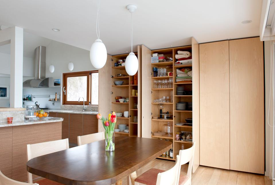 Pantry wall in a small kitchen.