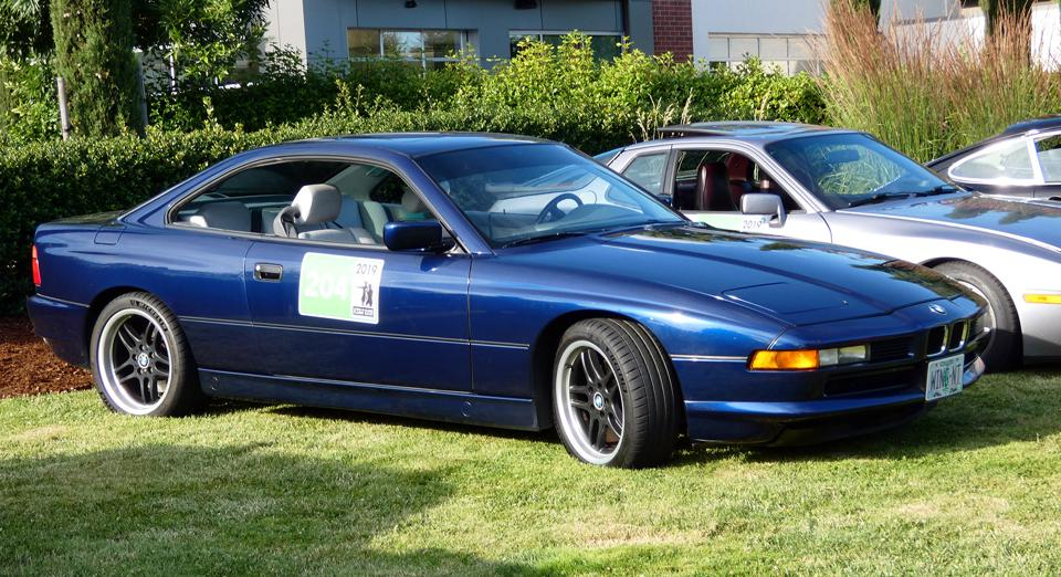 An early BMW850i 12-cylinder coupe was one of the ″newest″ cars to join the fray.