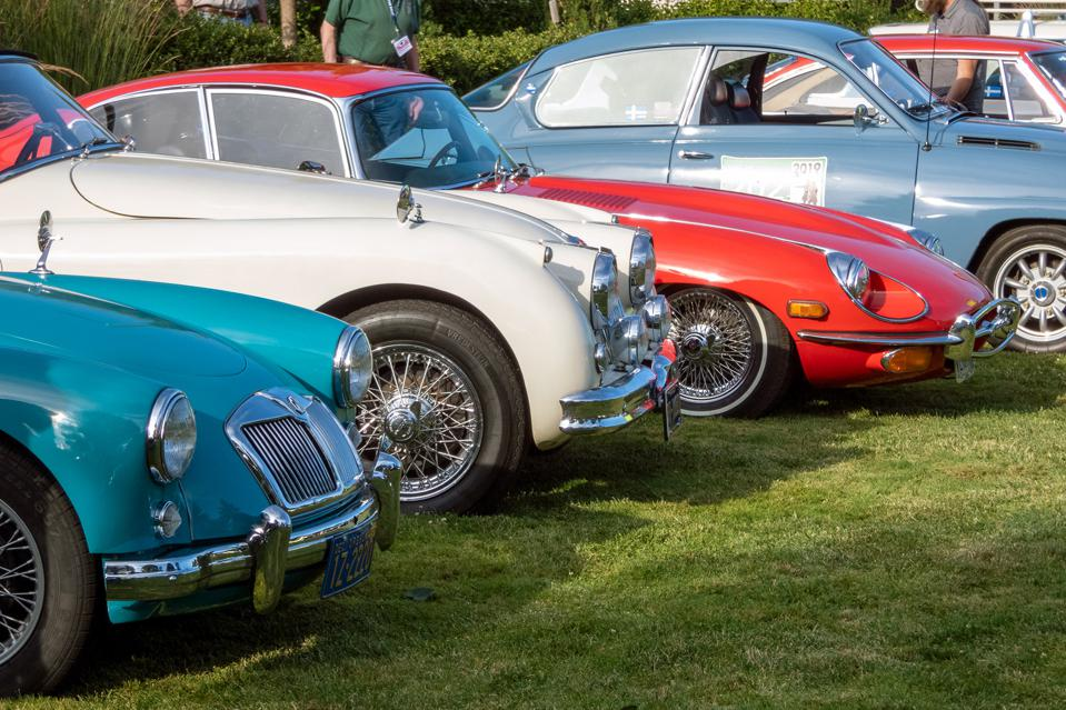 Wire wheels were a consistent feature at the show and drive.