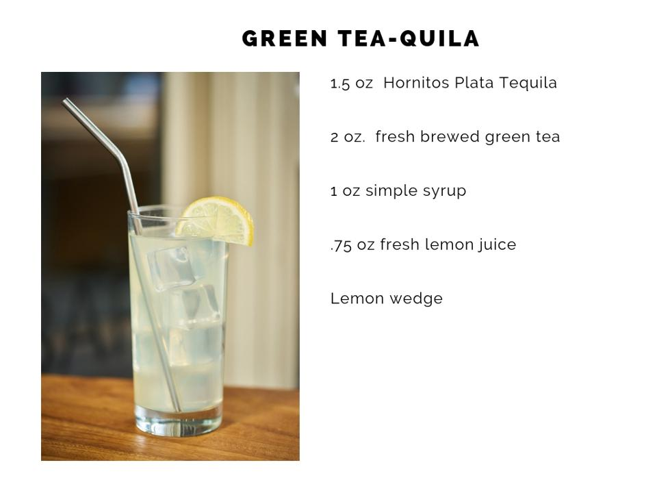 Green tea-quila cocktail.