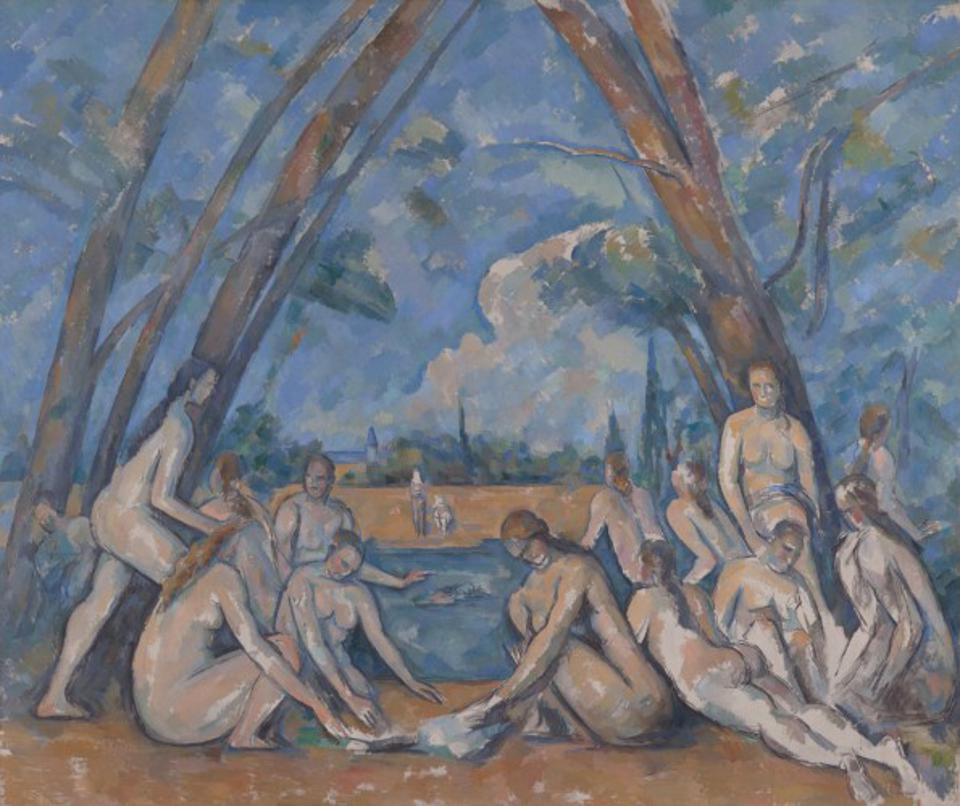 ″The Large Bathers,″ 1900-1906, by Paul Cézanne. Oil on canvas, 6 feet 10 7/8 inches × 8 feet 2 3/4 inches. Purchased with the W. P. Wilstach Fund, 1937.