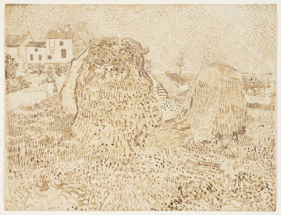 ″Haystacks,″ 1888, by Vincent Willem van Gogh. Reed and quill pens and brown ink over graphite on wove paper, Sheet: 9 1/2 x 12 1/2 inches. The Samuel S. White 3rd and Vera White Collection, 1962.