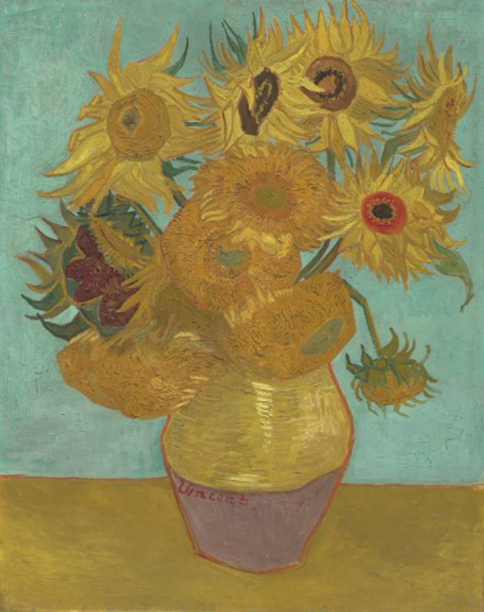 ″Sunflowers,″ 1889, by Vincent Willem van Gogh. Oil on canvas, 36 3/8 × 28 inches. The Mr. and Mrs. Carroll S. Tyson, Jr., Collection, 1963.