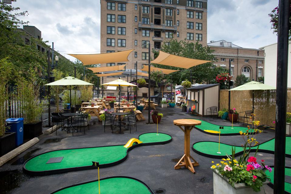 A pop-up Putt Putt Course at Hotel deLuxe in Portland, Oregon.