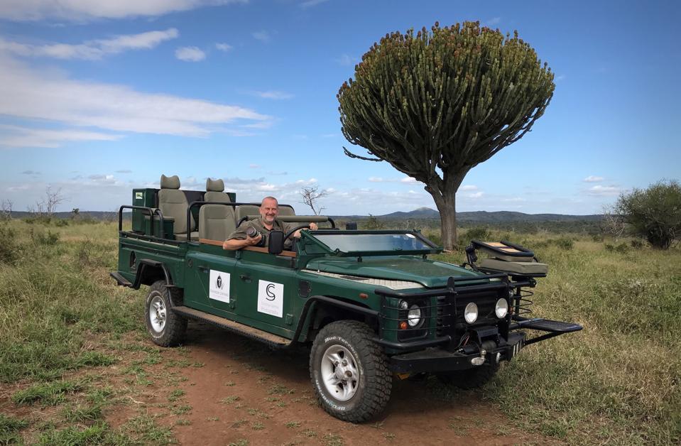 Christian Sperka in his Green Mamba Land Rover, at Thanda Safari