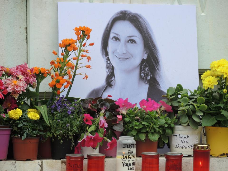 A memorial to Daphne Caruana Galizia on April 10, 2018.