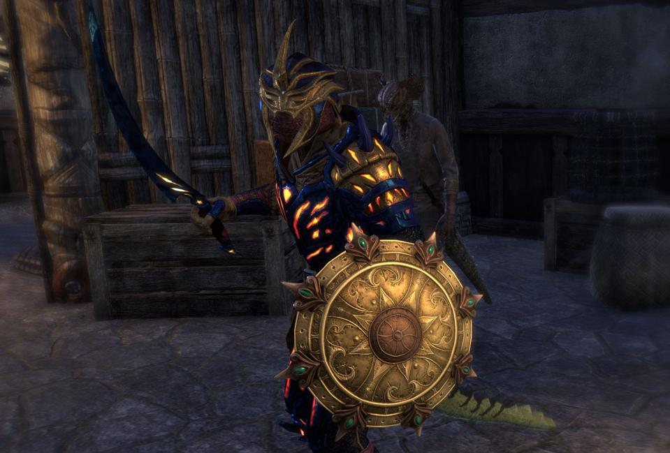 An Argonian Warden wielding a preview of the new Baandari Pedlar Shield.