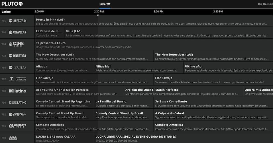 Pluto TV Latino guide