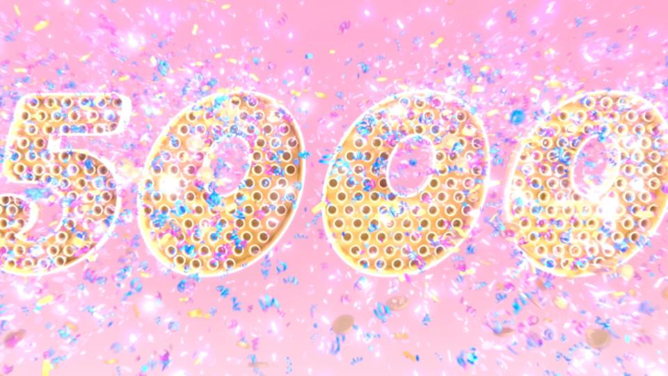 Art in celebration of Candy Crush's level 5000.