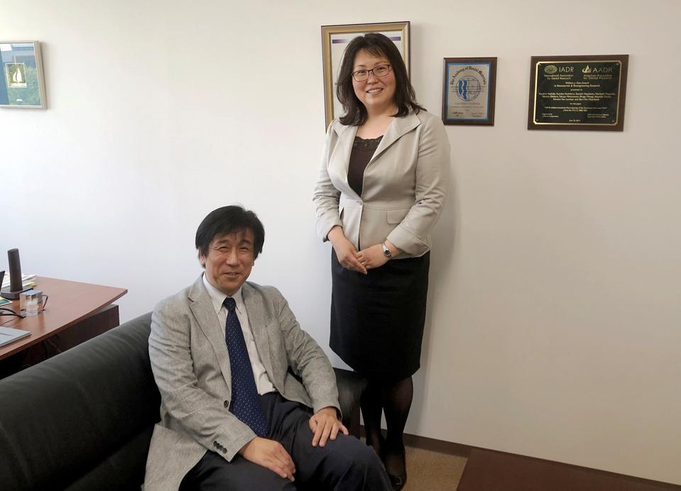 Toshimi Kanetate, president of BioARC, and Yasuhiro Yoshida, a professor