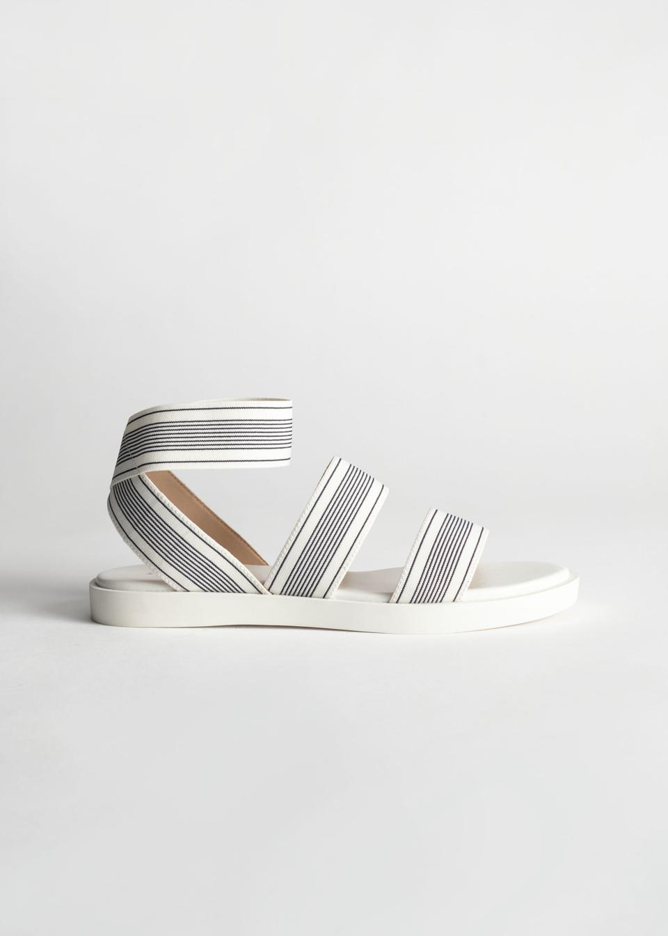 & Other Stories Striped Elastic Strap Sandal