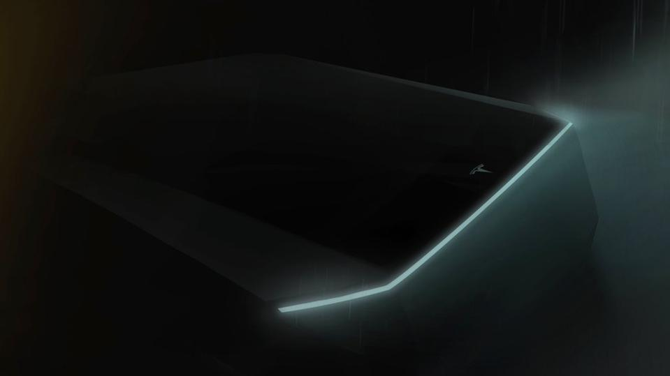 Teaser image of Tesla's planned electric pickup truck.