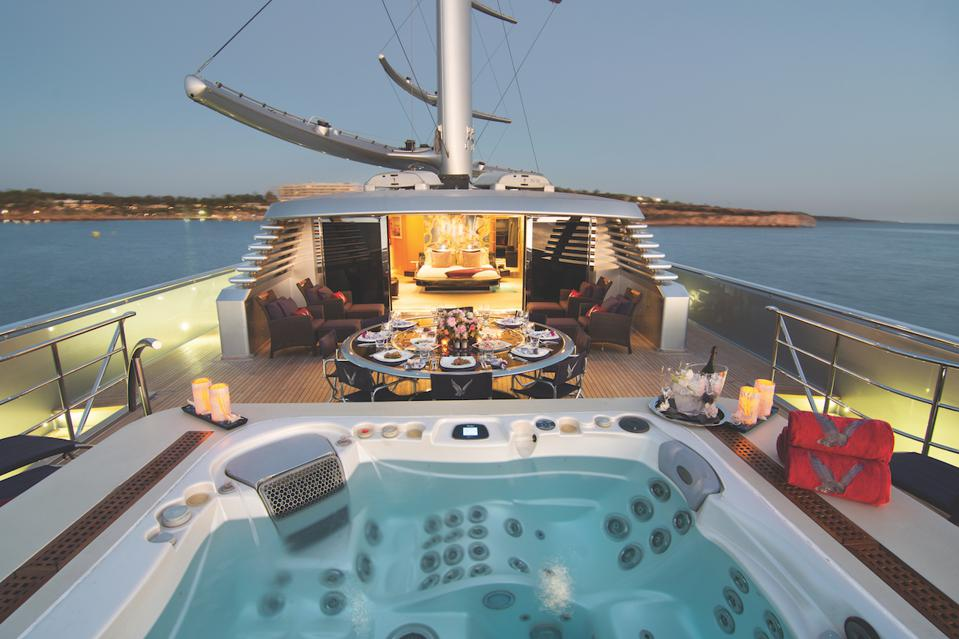 The upper deck aboard The Maltese Falcon is fit for a King.