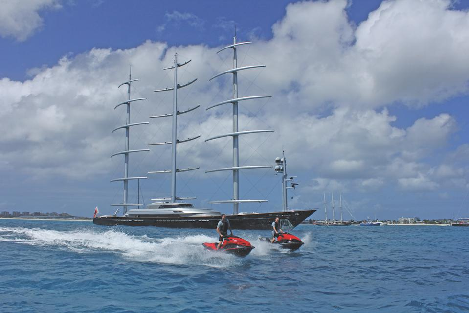 Jet skis are just a few of the toys that come with the Maltese Falcon.