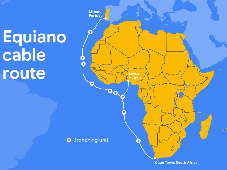 Google's Equiano cable will run down the west coast of Africa.